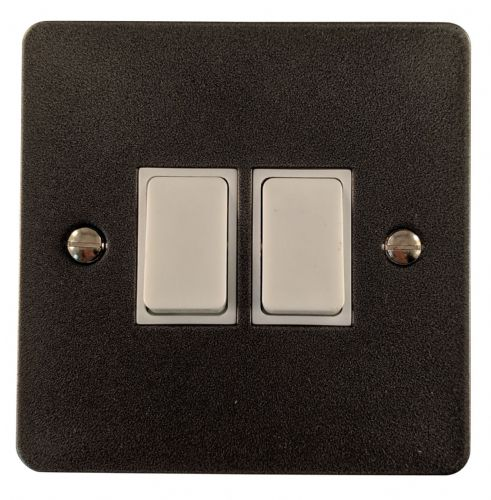 G&H FP2W Flat Plate Pewter 2 Gang 1 or 2 Way Rocker Light Switch